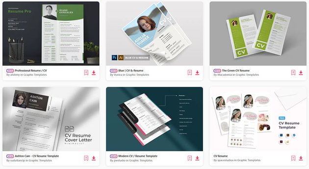 Envato Elements Attractive Resume Templates