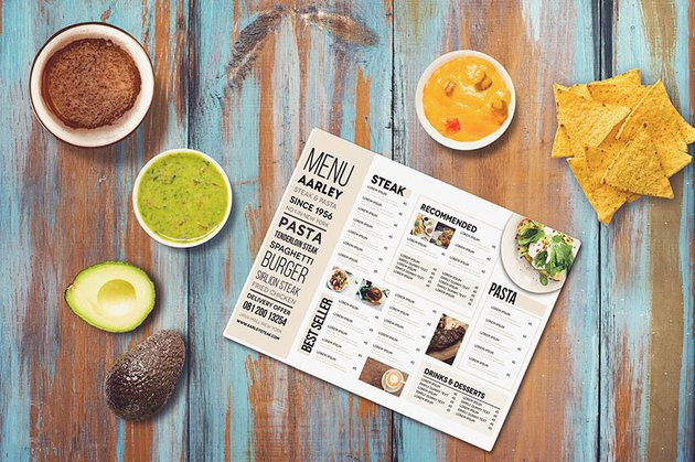 Promotion Table Mockup With Food