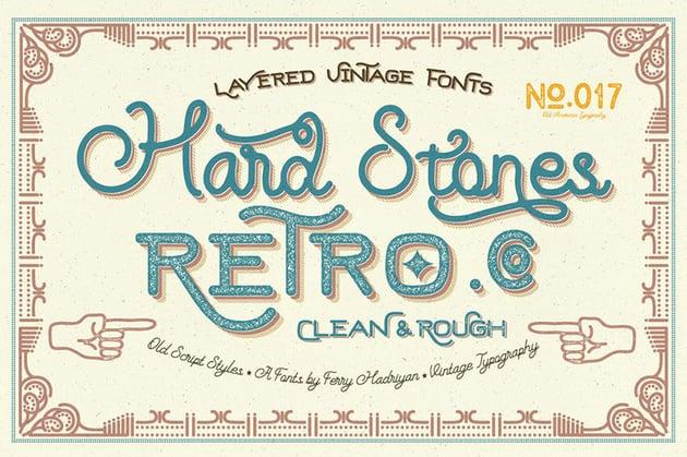 Hard Stones Family Lettering Fonts