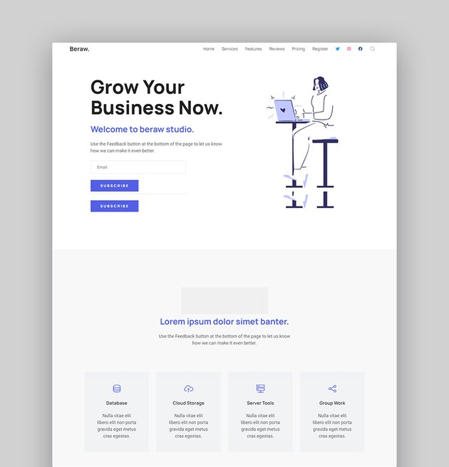 Beraw product launch landing page template