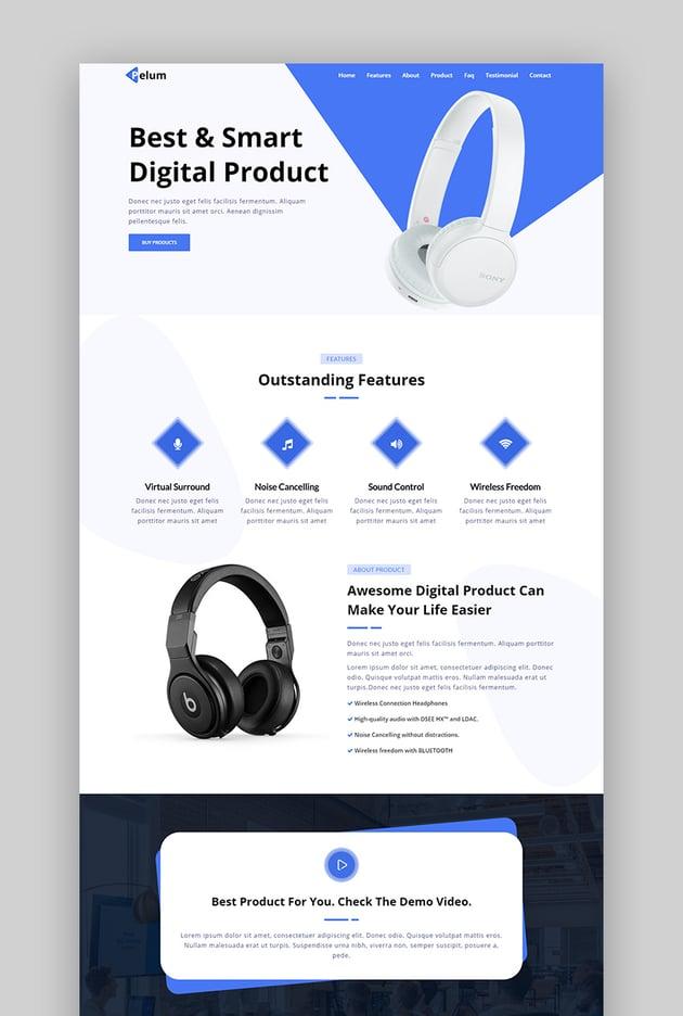 Pelum product landing page template