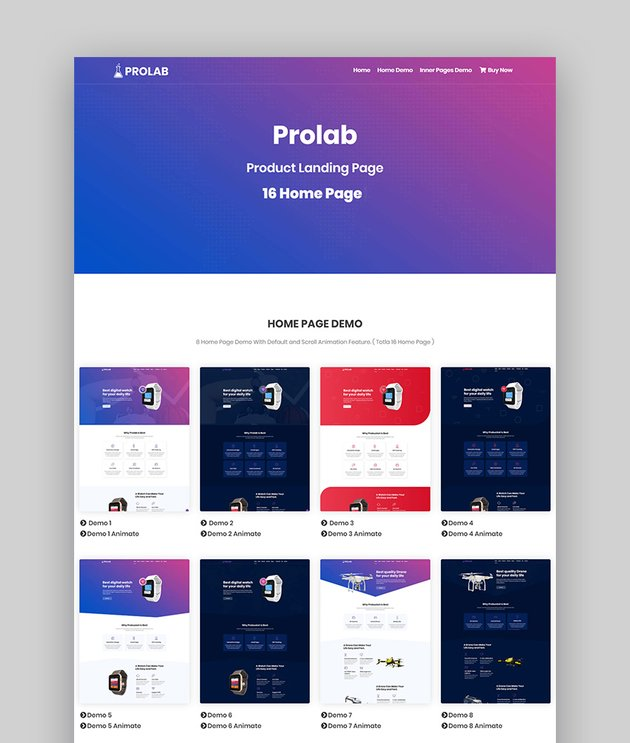 Prolab Product Landing Page template