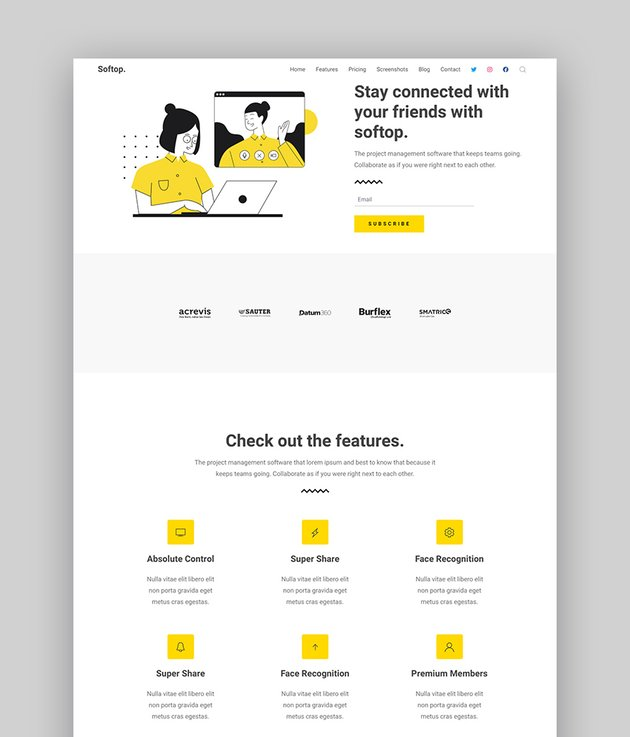 Softop app product landing page template
