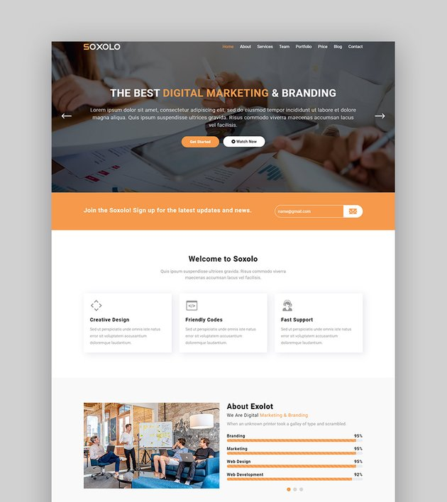 Soxolo services product landing page