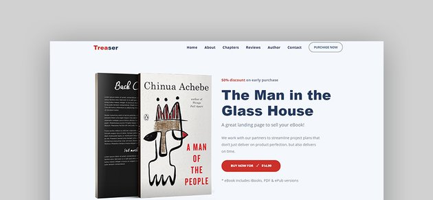 Treaser Author Book Landing Page Template