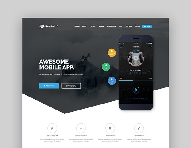 Fantastic Mobile App Landing Page Template