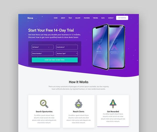 Nova Mobile Landing Page Template