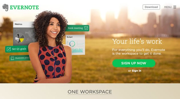Evernote landing page example