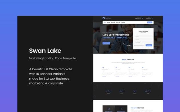 Swan Lake landing page design