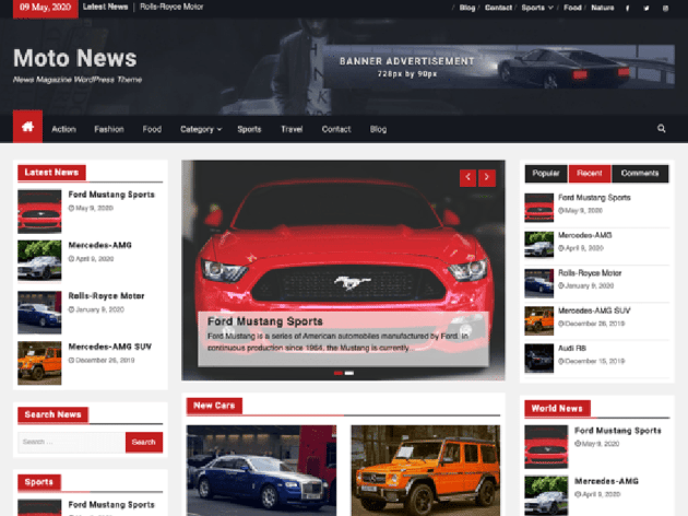 Moto News Car Magazine WordPress Theme