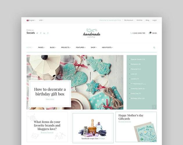 Handmade - Sofisticado tema de eCommerce para marketplace estilo Etsy