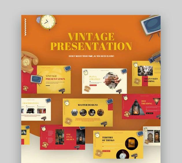 Vintage Antique PowerPoint Retro Theme Background