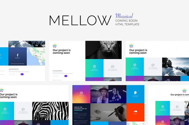 Mellow Landing Page HTML5 Social Media Buttons