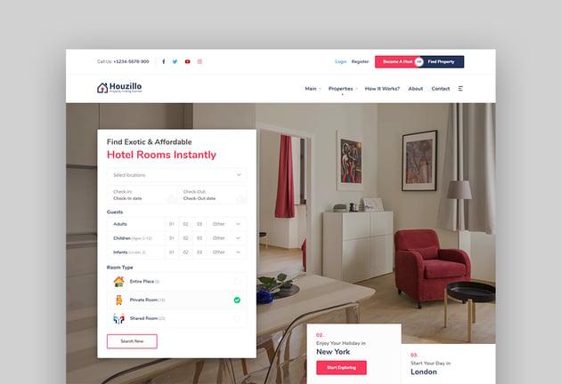 Houzillo WordPress Hotel Comparison Theme