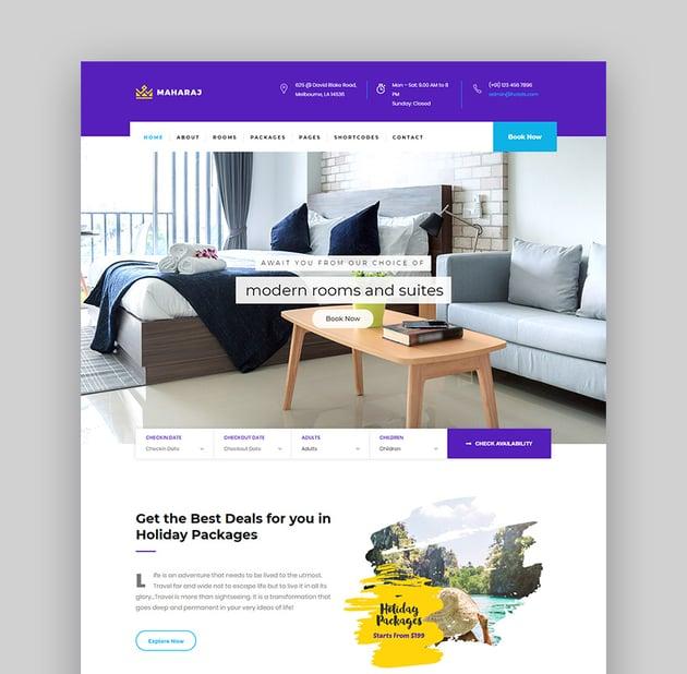 Maharaj Hotel Reservation WordPress Theme