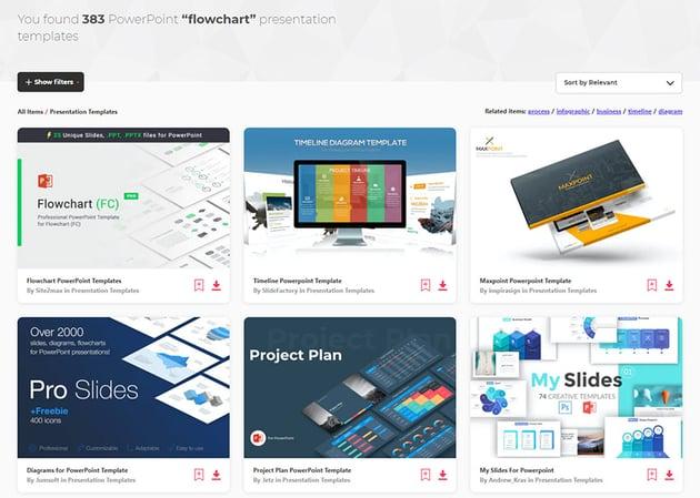 envato elements process flow PPT template choices