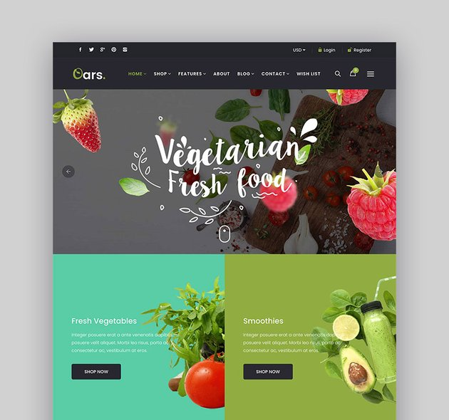 Oars - 7 Fastest UIUX Optimized Section Shopify Themes for Organic Food Stores