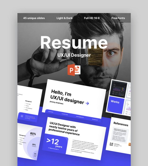 Creative Resume and CV for UI UX Designers