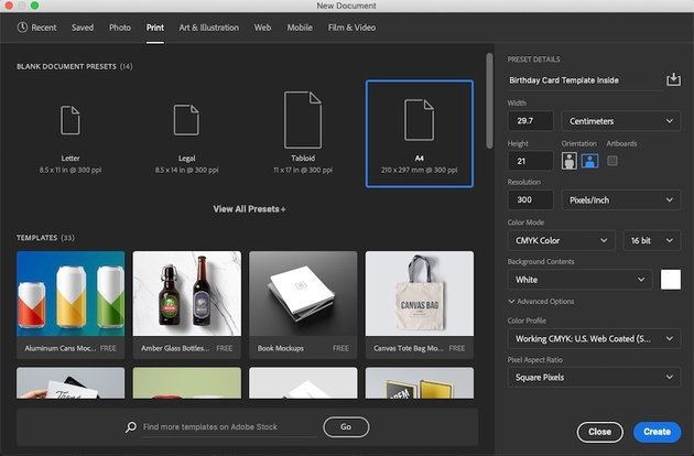 Canvas and Preset Selection for a Printable Document