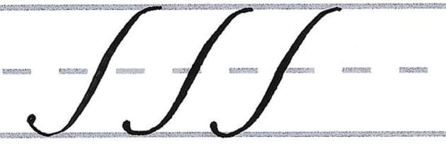 roundhand script- basic downstroke line
