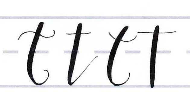 How to Write Calligraphy Letters Tutorial make your own font-lowercase t