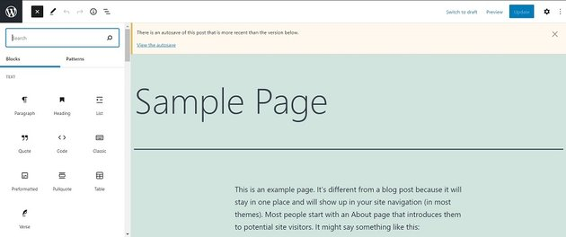 Editing the text of WordPress homepage