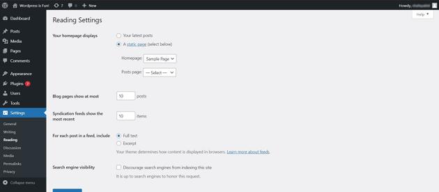 Select your homepage display