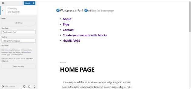 Customizing Site Identity