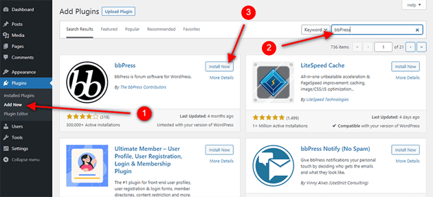 how to find bbpress in the WordPress repository