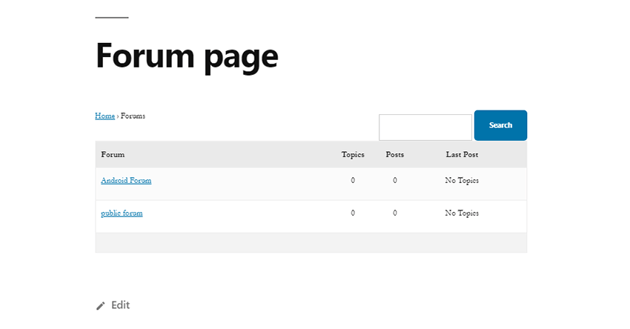 the forum page on a WordPress website