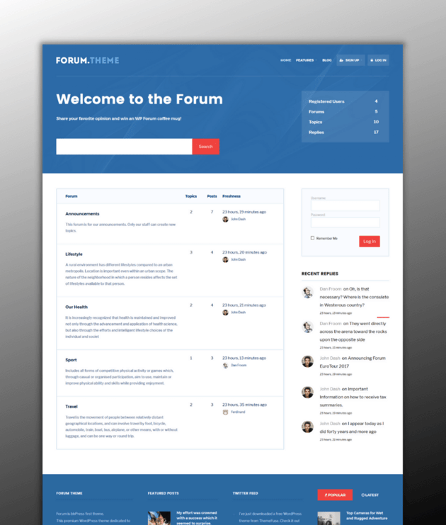 Forum - a clean and well-styled WordPress theme