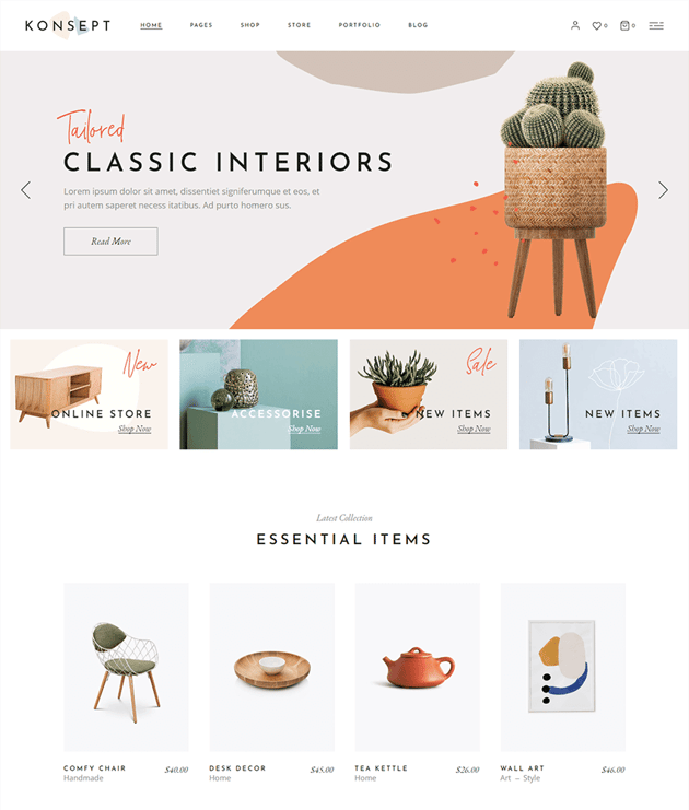 Konsept is a well-designed wordpress theme for furniture stores