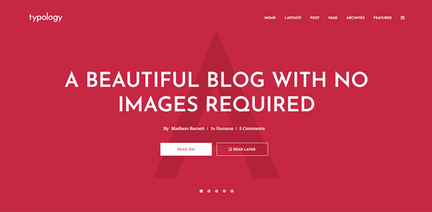 Typology - text-based and minimalist WordPress theme for writers and bloggers