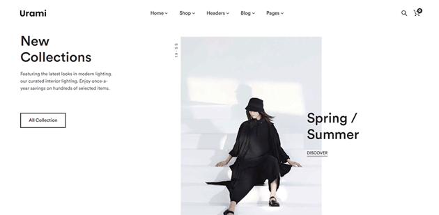 Urami WP - a good choice for creating minimalist online stores