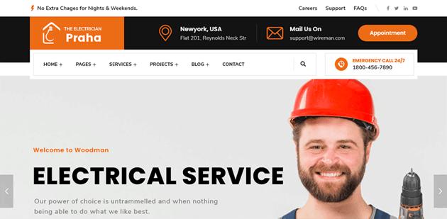 Praha - an elegant WordPress theme for electricians
