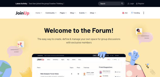 JoinUp is a Elementor theme for forum and community websites