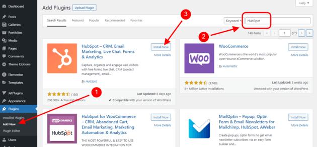 Install the HubSpot WordPress plugin