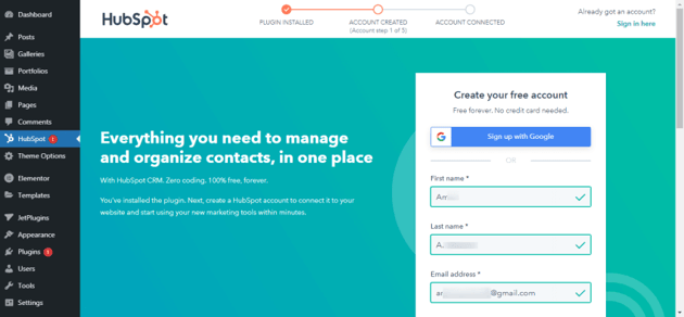 sign up for a HubSpot account