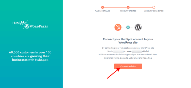 Click the Connect website button
