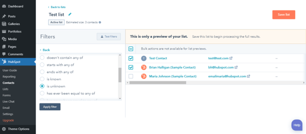 Choose the contacts you want to add to your list