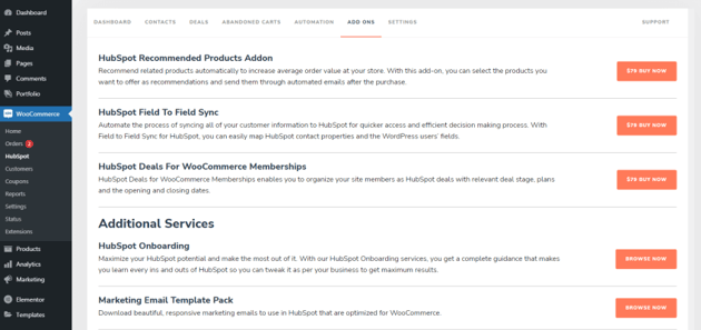Buy more add-ons for the HubSpot plugin