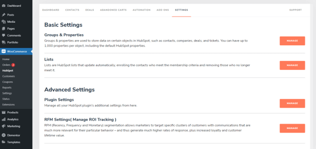 Advanced settings for HubSpot tracking system