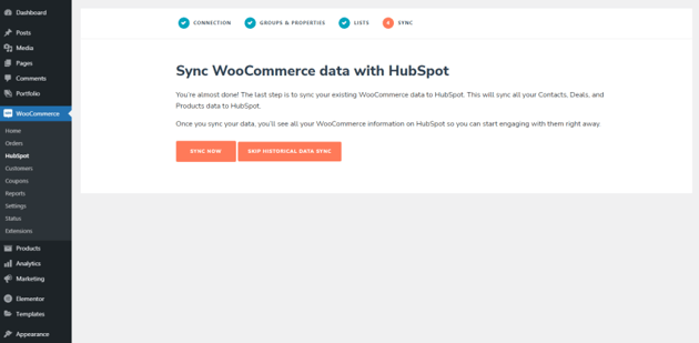 Sync WooCommerce data with HubSpot