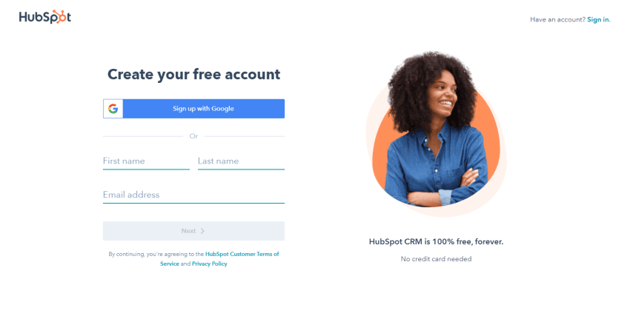 Create your free HubSpot account
