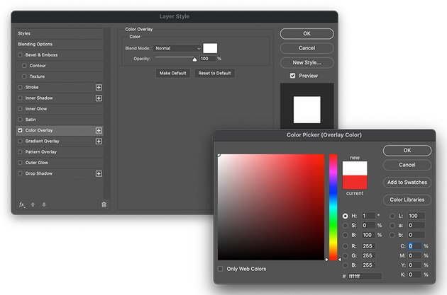 Adjust the Layer Style effects and change the Color Overlay to white