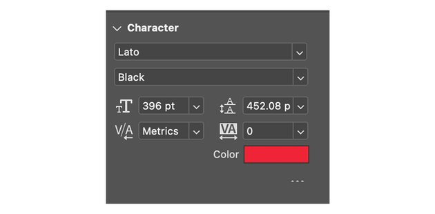 Resize the text using the Character module
