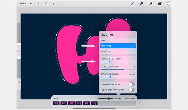Animation Panel Settings in Procreate