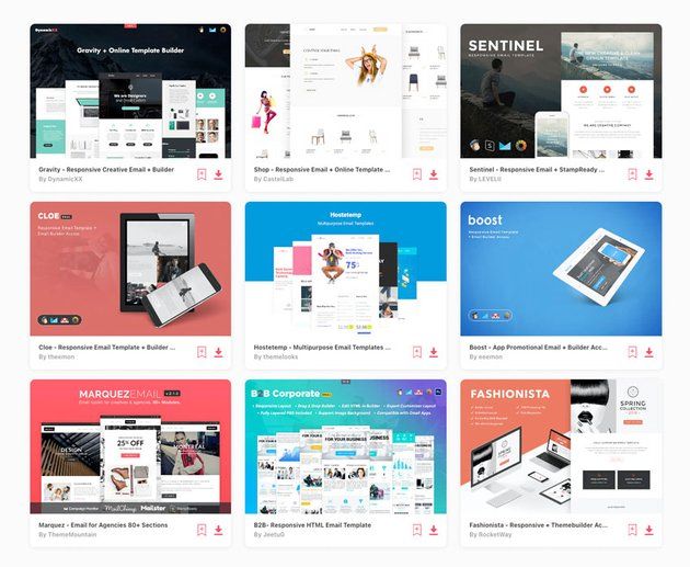 popular HTML email templates on Envato Elements