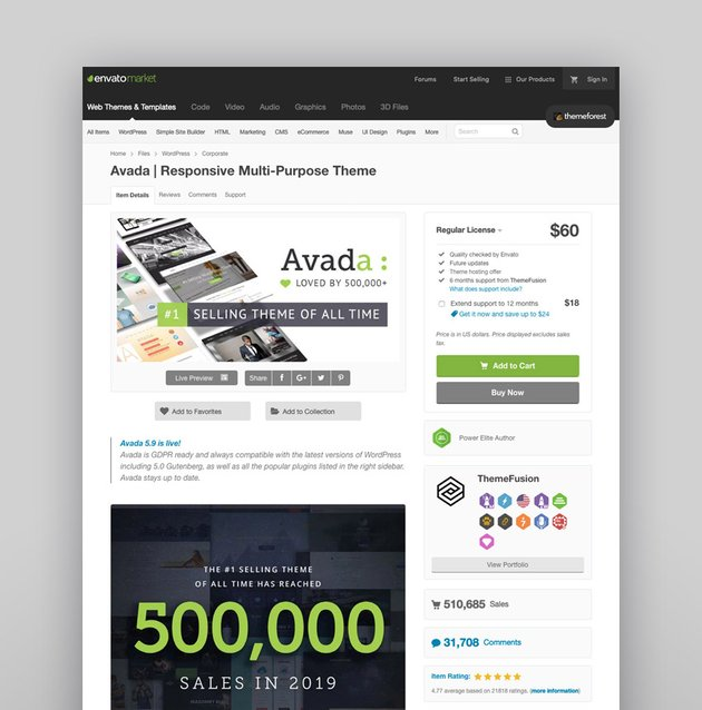 Great WordPress business themes like the best-selling Avada shown above have powerful design features