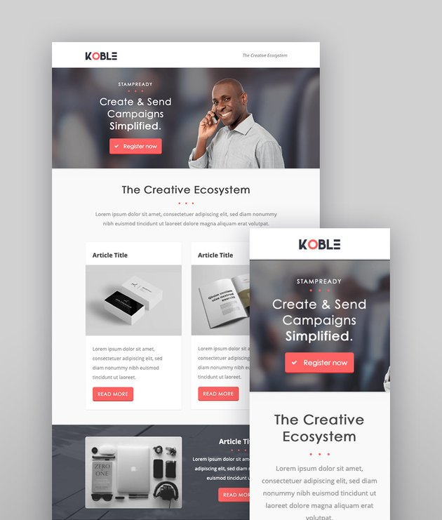 Koble Mailchimp Newsletter Examples